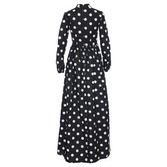 Black Monique Polka Dot Maxi Dress by Zalinah White on OOSTOR.com