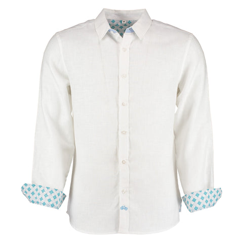 Karnataka White Linen Shirt by Tobias Clothing on OOSTOR.com