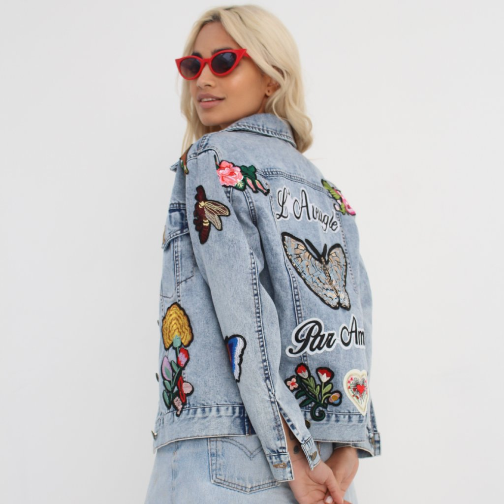 Embroidered Denim Jacket by Wired Angel Ltd on OOSTOR.com