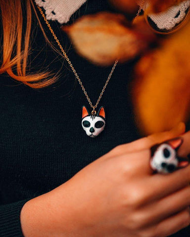 Mori Skull Cat Necklace