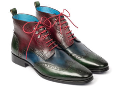 Paul Parkman Wingtip Ankle Boots Three Tone Green Blue Bordeaux by PAUL PARKMAN on OOSTOR.com