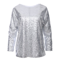 Jasmine Silver Glitter Sequin Top by Zalinah White on OOSTOR.com