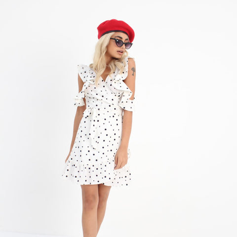 White & Black Spot Tea Dress by Wired Angel Ltd on OOSTOR.com