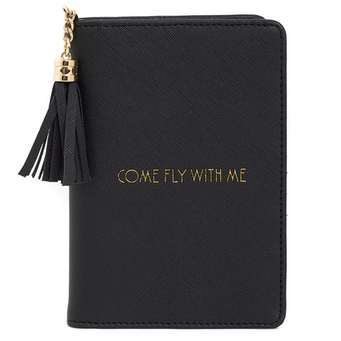 Black 'Come Fly With Me' Passport Cover by Sole Favors on OOSTOR.com