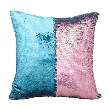 Blue & Pink Mermaid Cushion by Mermaid Pillow Shop on OOSTOR.com