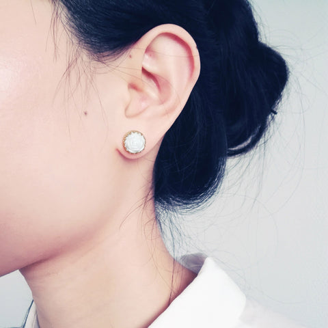 Mini Round Porcelain Rose Gold-Filled Stud Earrings by POPORCELAIN on OOSTOR.com
