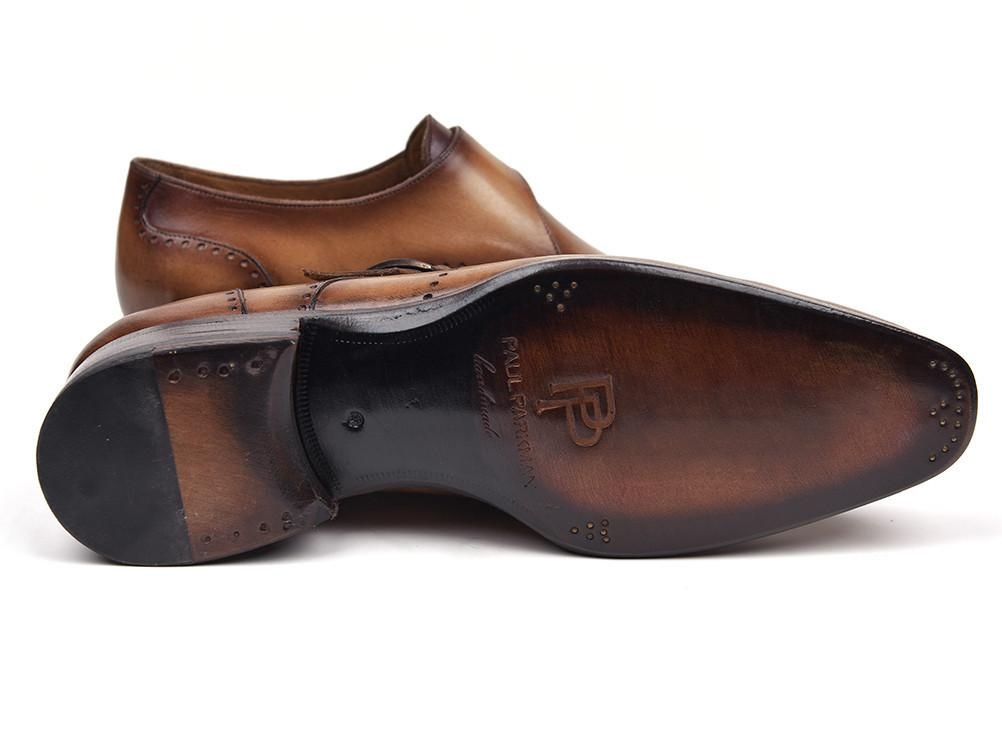 Paul Parkman Wingtip Single Monkstraps Brown & Camel by PAUL PARKMAN on OOSTOR.com