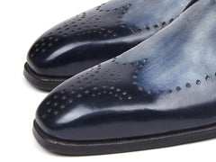 Paul Parkman Wingtip Single Monkstraps Navy by PAUL PARKMAN on OOSTOR.com