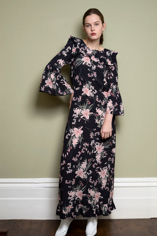 Black Floral Maxi Dress With Frill Detail & Bell Sleeves by Minkie London on OOSTOR.com