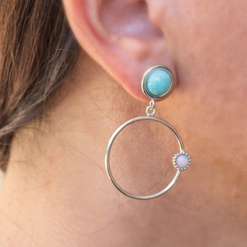 Satellites Amazonite & Opal Silver Hoop Earrings by Vintouch Jewels on OOSTOR.com