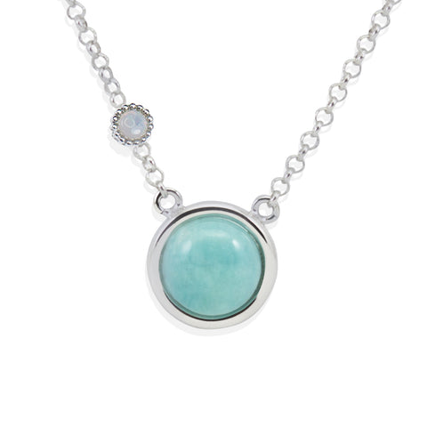Satellites Amazonite & Opal Silver Necklace by Vintouch Jewels on OOSTOR.com