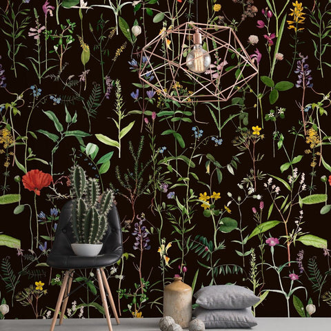Aquafleur Anthracite Wallpaper by Pad Home on OOSTOR.com