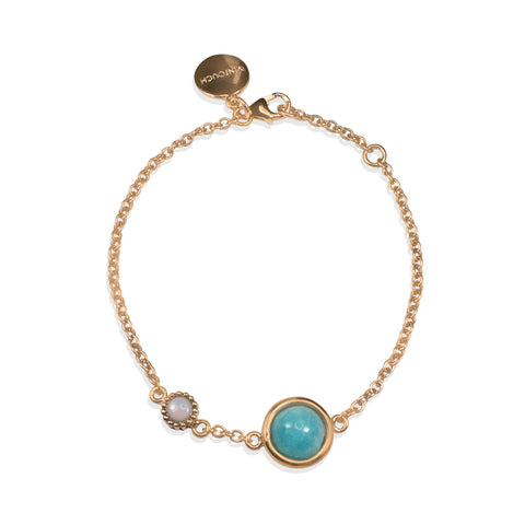 Satellites Amazonite & Opal Rose Gold Bracelet by Vintouch Jewels on OOSTOR.com