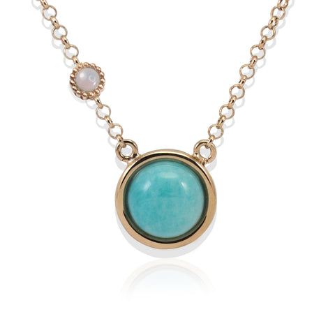 Satellites Amazonite & Opal Rose Gold Necklace by Vintouch Jewels on OOSTOR.com