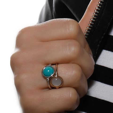 Satellites Amazonite Silver Ring by Vintouch Jewels on OOSTOR.com