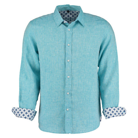 Karnataka Turquoise Linen Shirt by Tobias Clothing on OOSTOR.com