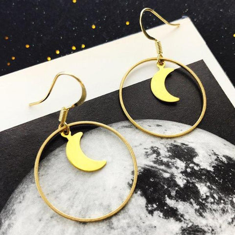 Apolune Moon Hoop Earrings by Eclectic Eccentricity on OOSTOR.com