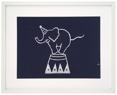 Balancing Circus Elephant Framed Fabric Print by Burch and Brown on OOSTOR.com