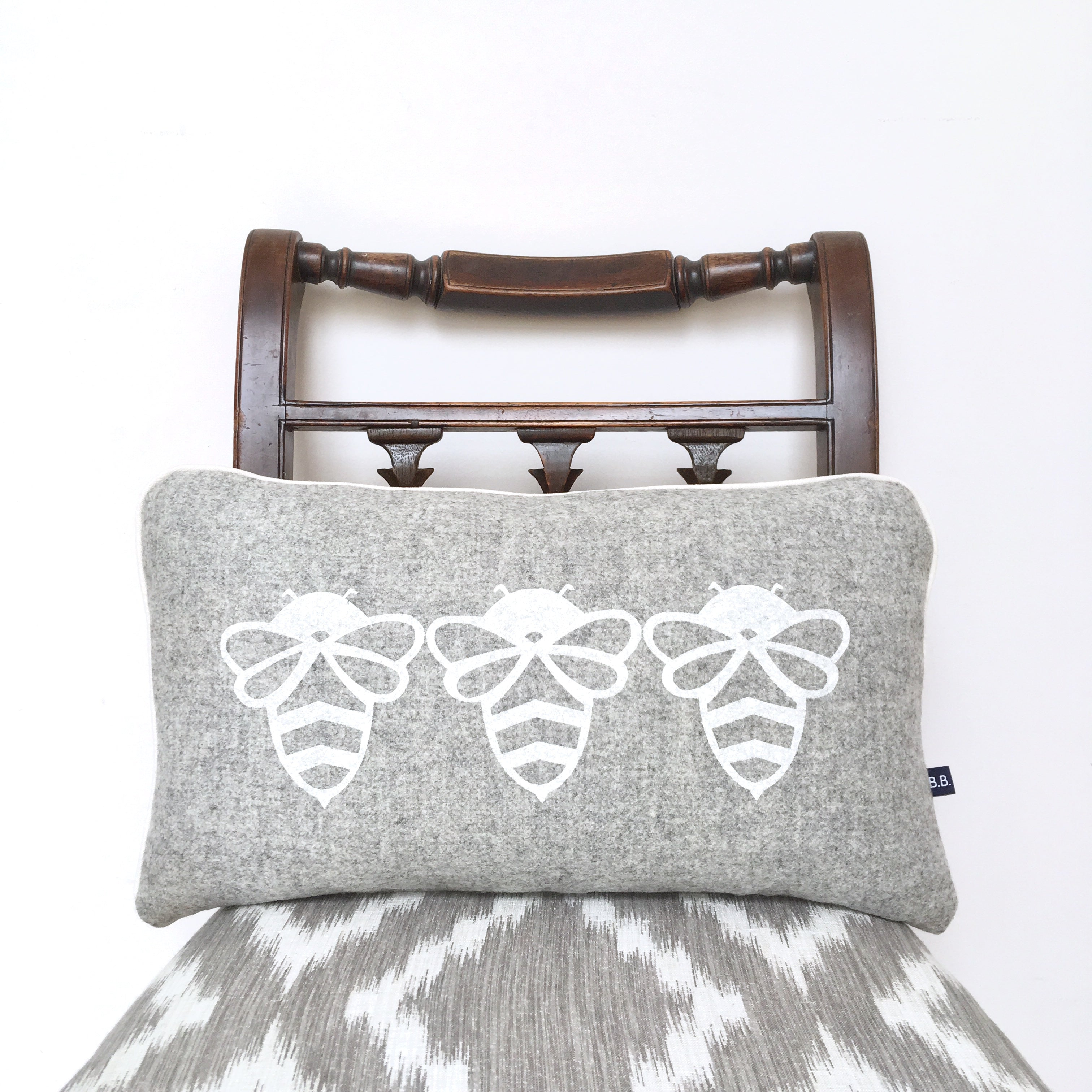 Grey Triple Bessie Bumblebee Cushion by Burch and Brown on OOSTOR.com