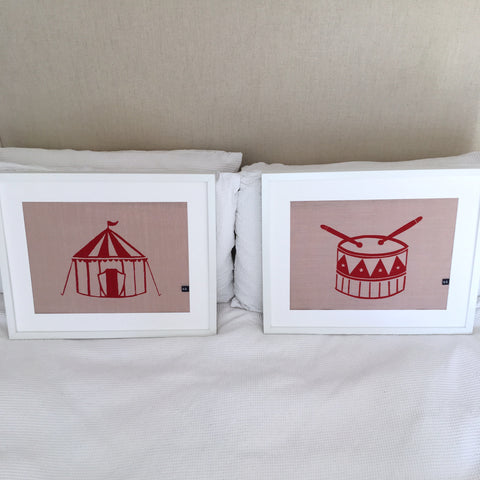 Beating Circus Drum Framed Fabric Print by Burch and Brown on OOSTOR.com