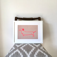 Dotty Dachshund Framed Fabric Print by Burch and Brown on OOSTOR.com
