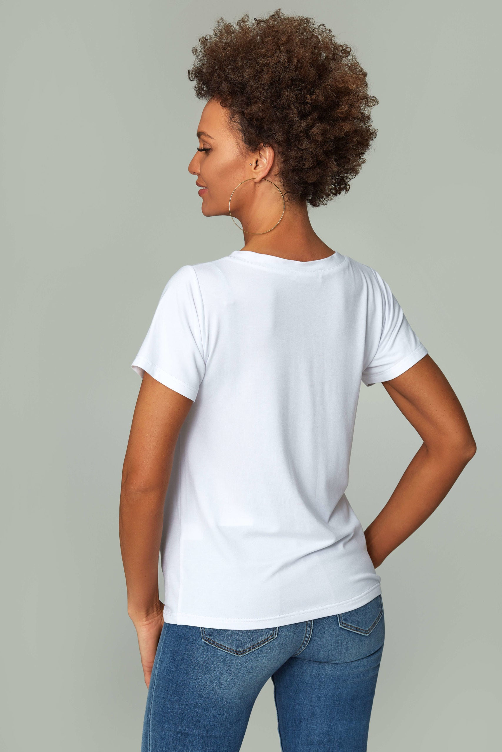 Womens's White V-neck T-shirt