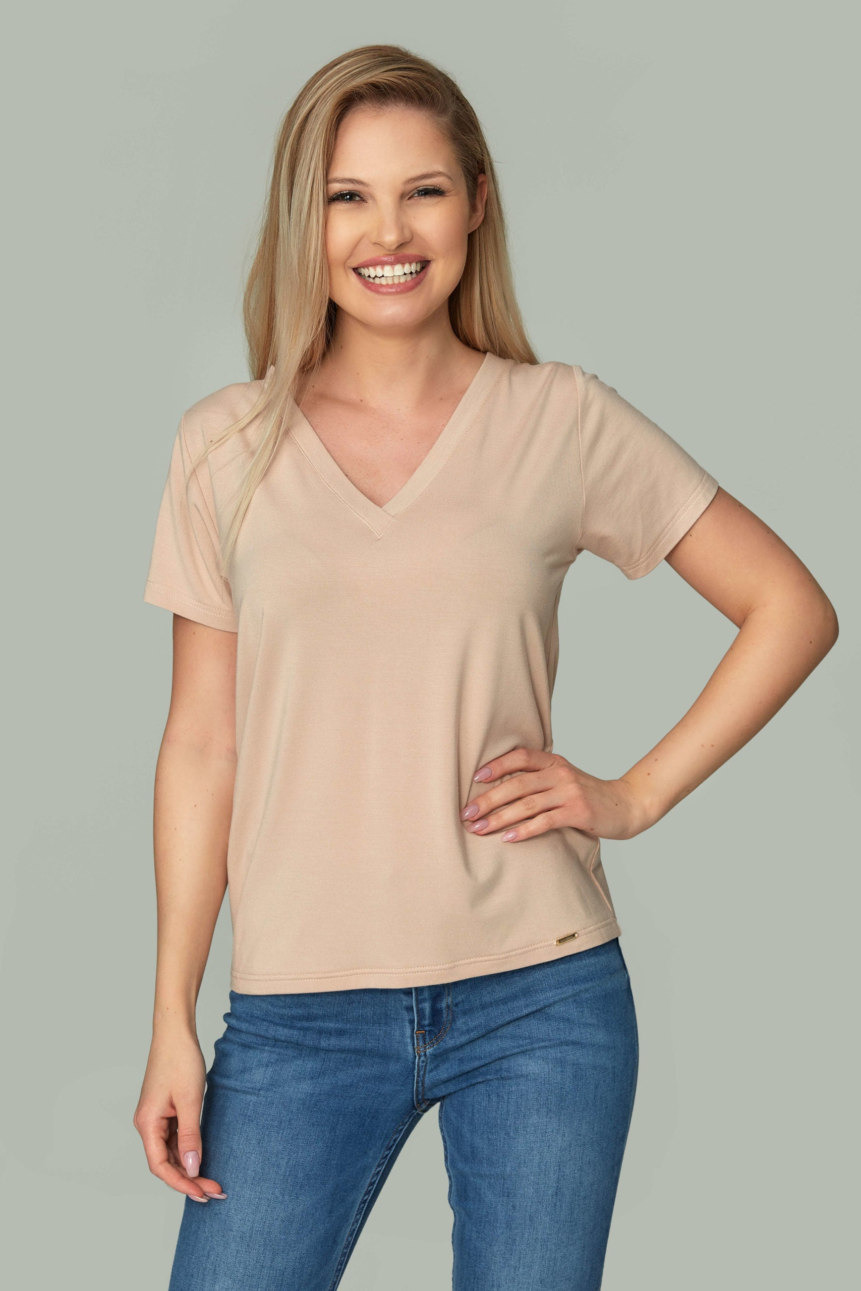 Womens Beige V-neck T-shirt