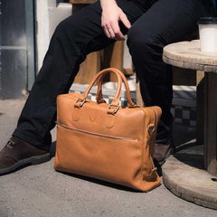 Fox Briefcase / Messenger Bag - Caramel Tan