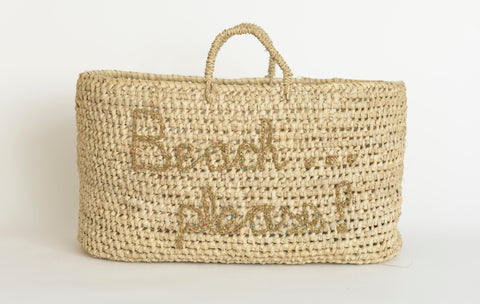 Beach Please - Hand Embroidered Woven Basket by Elsker Creations on OOSTOR.com