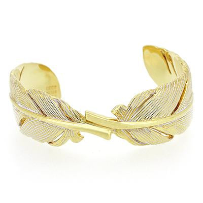 Feather Bangle Gold - White