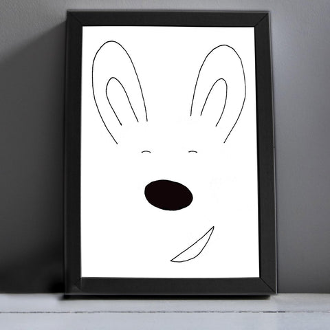 Handdrawn Bunny Print by Roscoe Rules