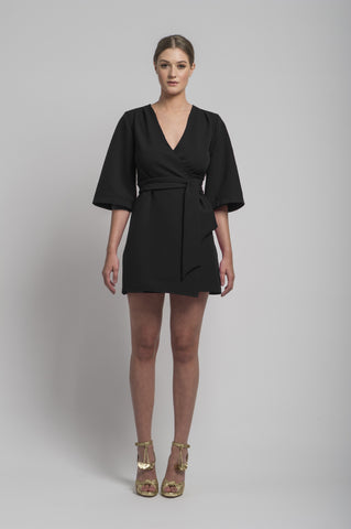 Mary-H-Wrap Kimono dress in Black by CoCo VeVe on OOSTOR.com
