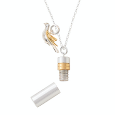 Large Sterling Silver Memories Necklace With Detailed in 18k Gold Vermeil
