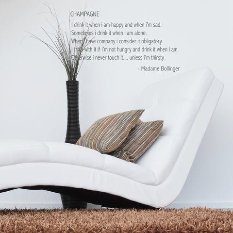 Champagne' Lily Bollinger Quote Wall Sticker_Leonora Hammond_OOSTOR.com