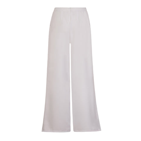 Sofia Wide Leg Trousers in White by CoCo VeVe on OOSTOR.com