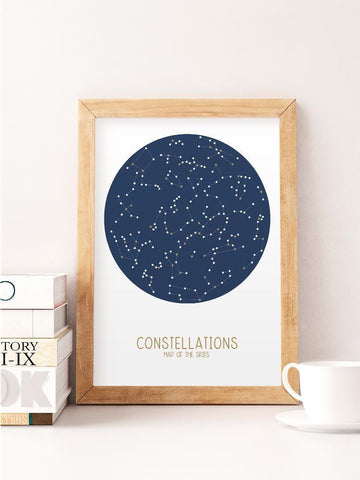 Constellations Map of the Skies in Blue Print