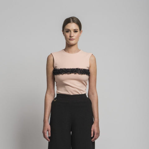 Fitted Sleeveless Top with Ruffles by CoCo VeVe on OOSTOR.com