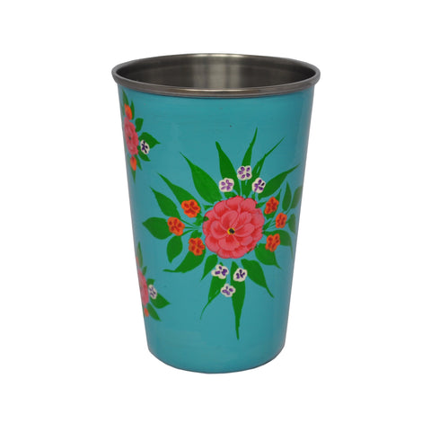 Turquoise Floral Enamelware Tumbler by Jasmine White on OOSTOR.com