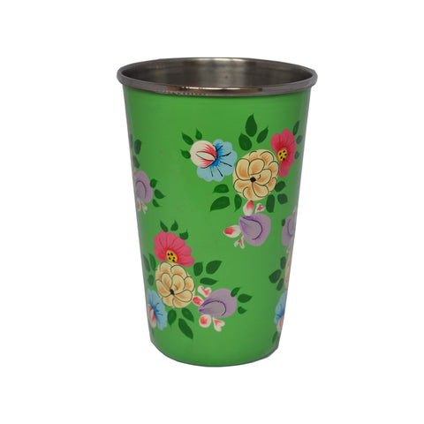 Bright Green Floral Enamelware Tumbler by Jasmine White on OOSTOR.com