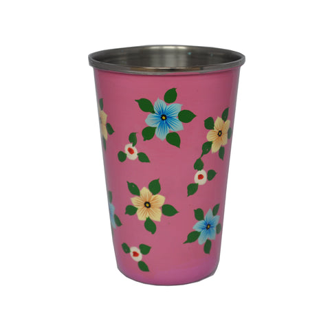 Dusty Pink Floral Enamelware Tumbler by Jasmine White on OOSTOR.com
