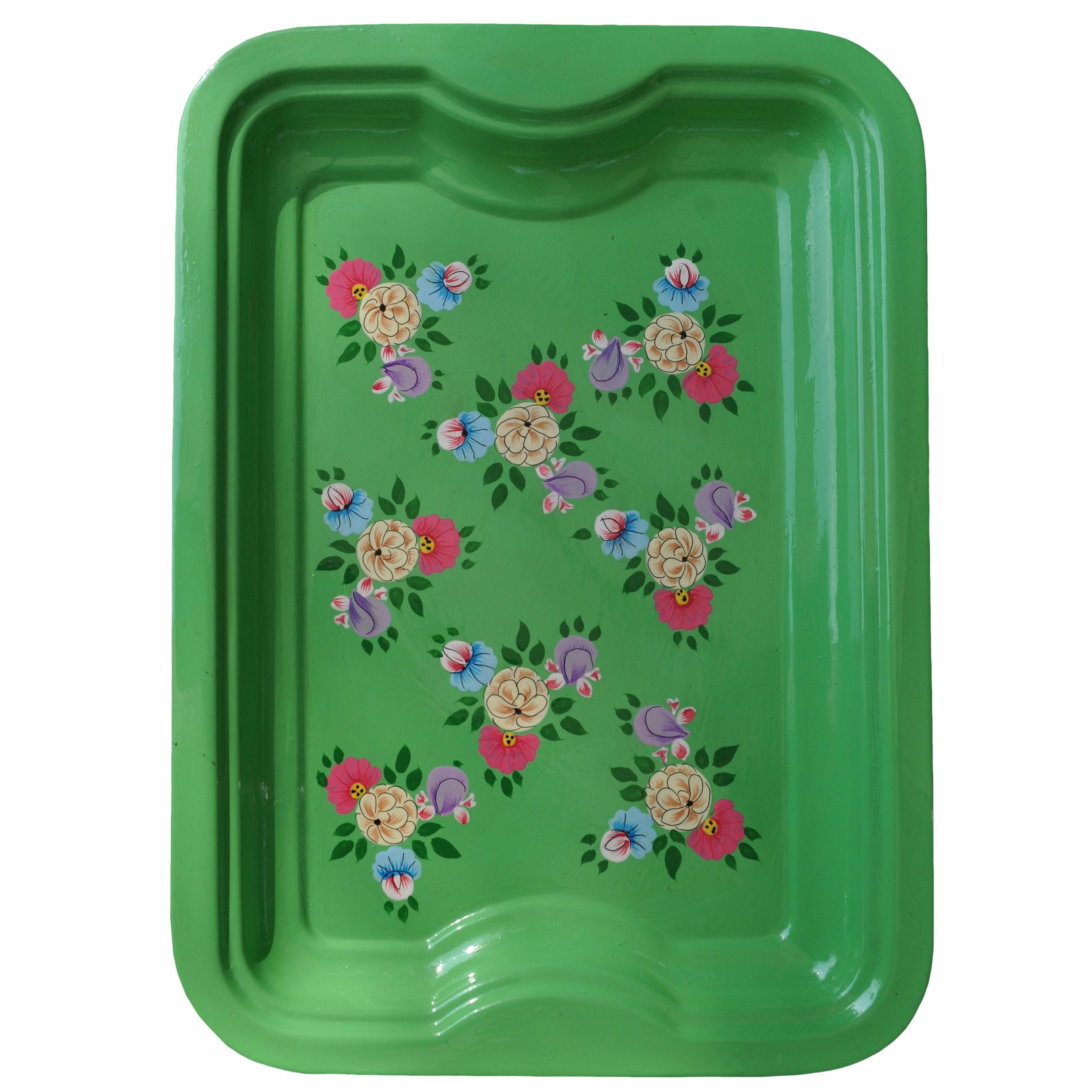 Bright Green Floral Enamelware Rectangular Tray by Jasmine White on OOSTOR.com