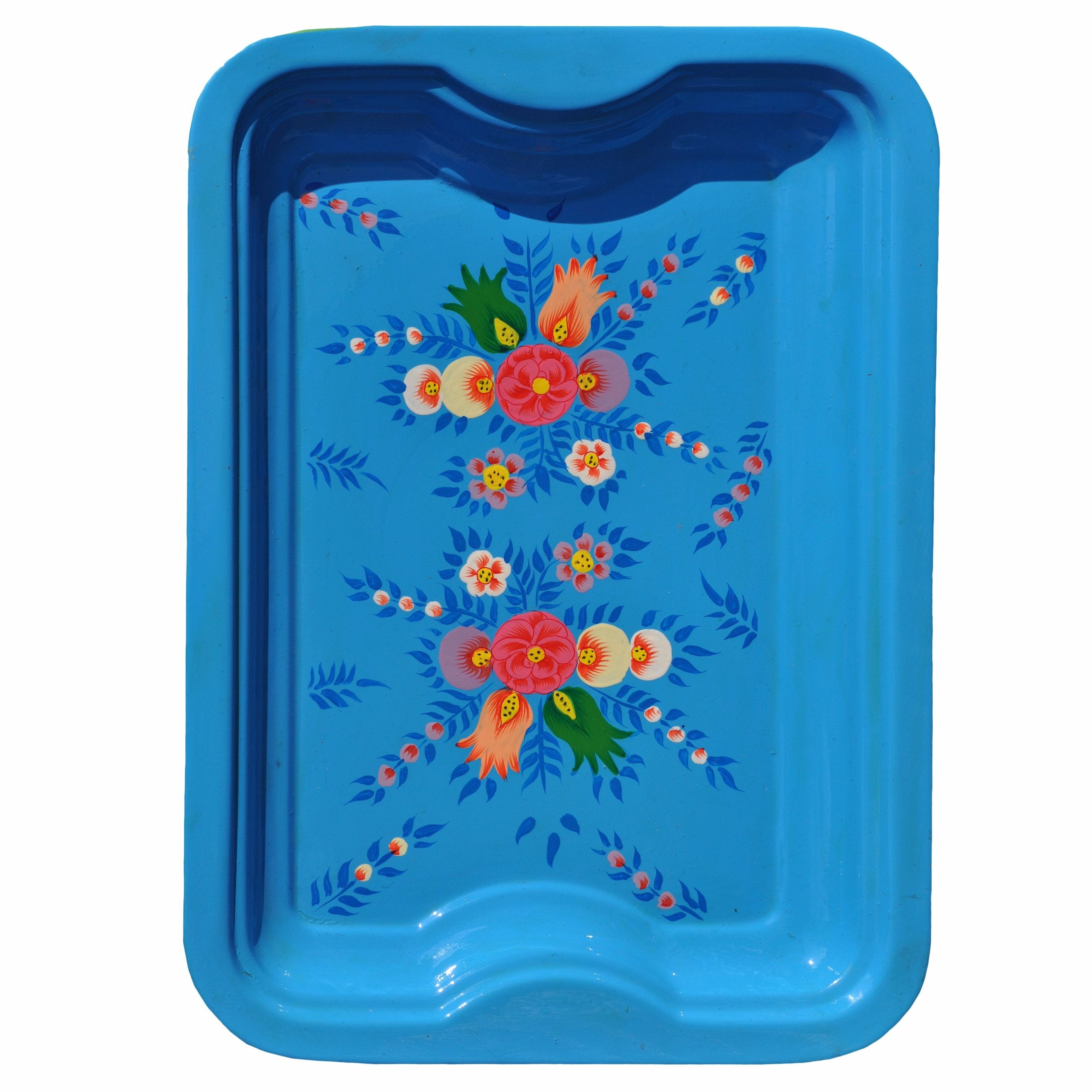 Bright Blue Floral Enamelware Rectangular Tray by Jasmine White on OOSTOR.com