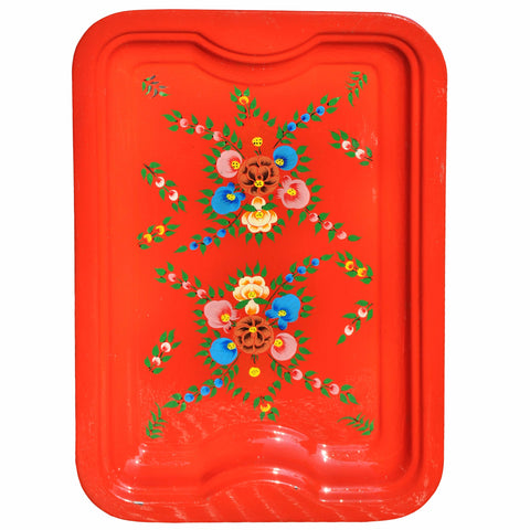 Bright Red Floral Enamelware Rectangular Tray by Jasmine White on OOSTOR.com