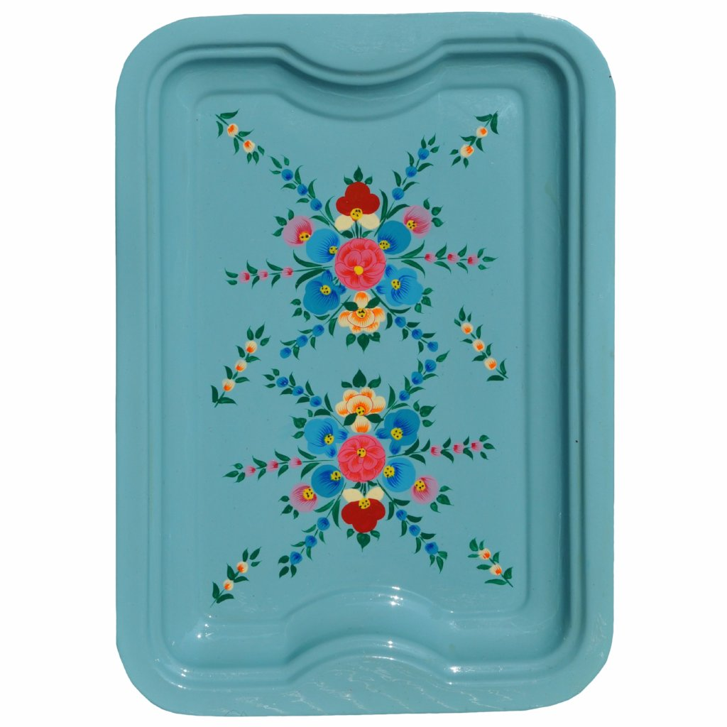 Duck Egg Floral Enamelware Rectangular Tray by Jasmine White on OOSTOR.com