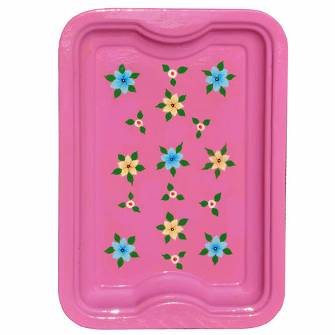 Dusty Pink Floral Enamelware Rectangular Tray by Jasmine White on OOSTOR.com