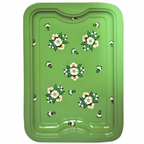 Sage Green Floral Posy Enamelware Rectangular Tray by Jasmine White on OOSTOR.com