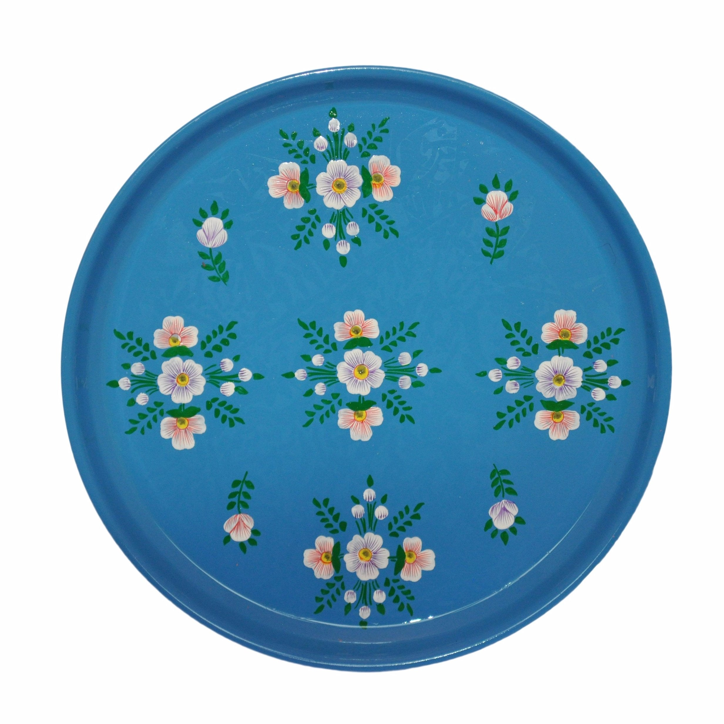 Azure Blue Floral Enamelware Round Tray by Jasmine White on OOSTOR.com