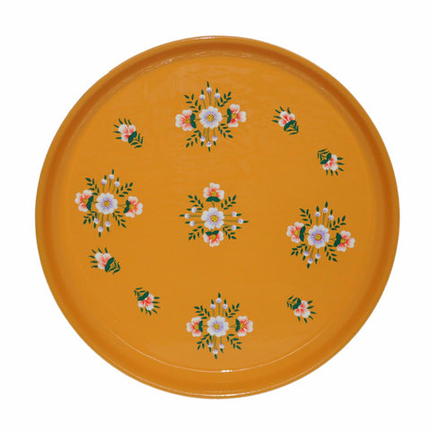 Tangerine Floral Enamelware Round Tray by Jasmine White on OOSTOR.com