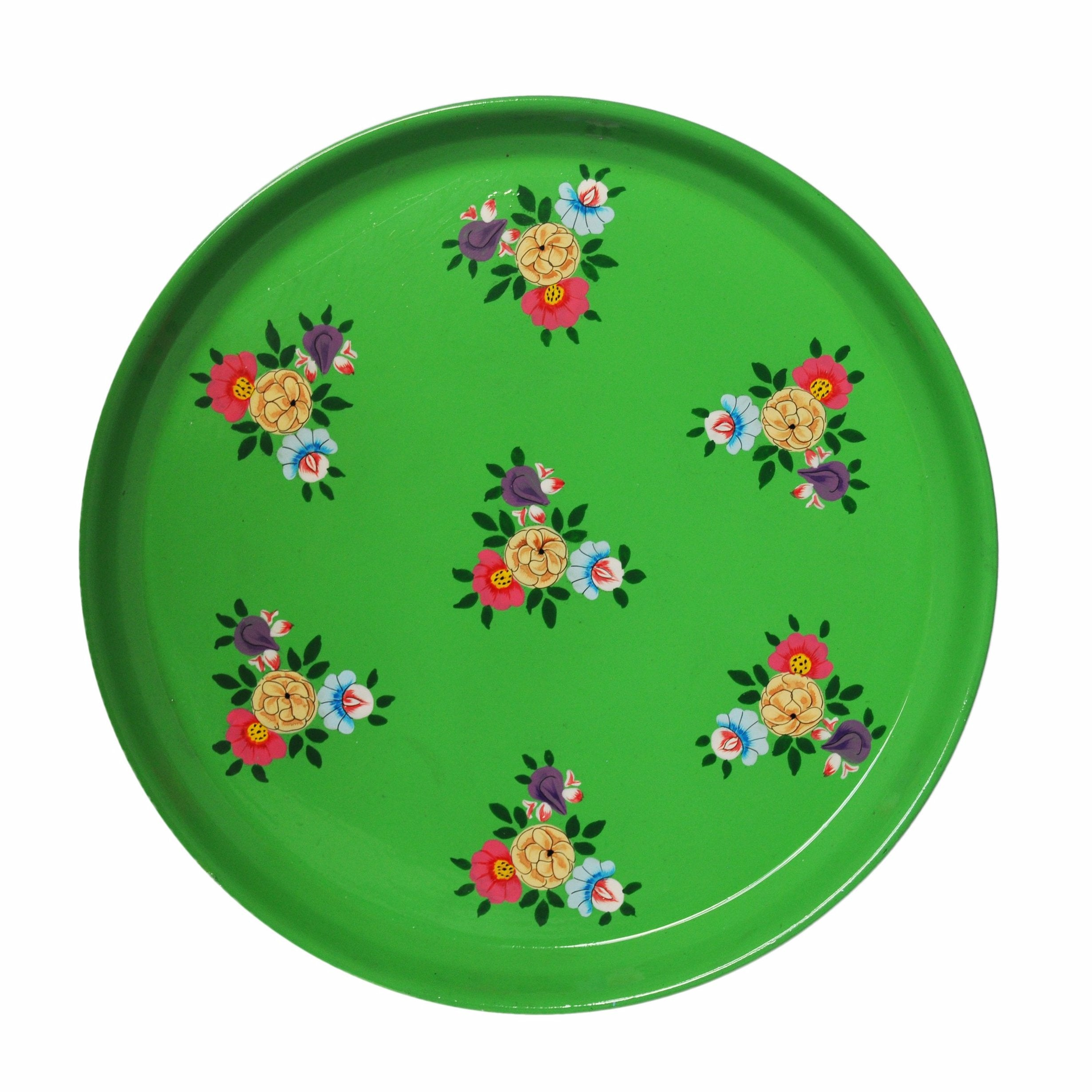 Bright Green Floral Enamelware Round Tray by Jasmine White on OOSTOR.com