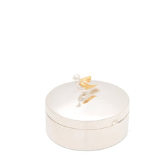 Large Sterling Silver Keepsake Box With Solid Silver Dove And 18k Gold Vermeil Wings